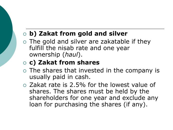 b) Zakat from gold and silver