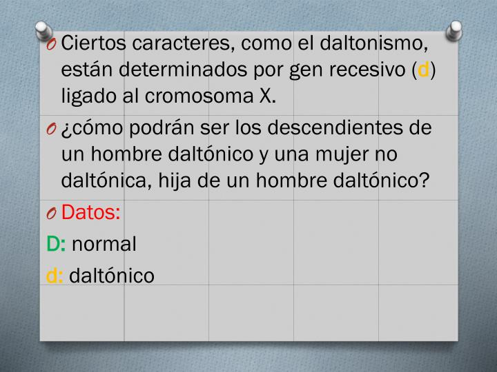 Ciertos caracteres, como el daltonismo, están determinados por gen recesivo (