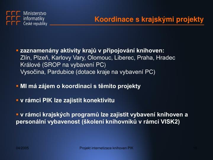 Koordinace s krajskými projekty