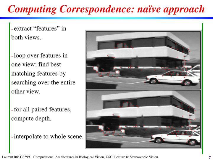 Computing Correspondence: naïve approach