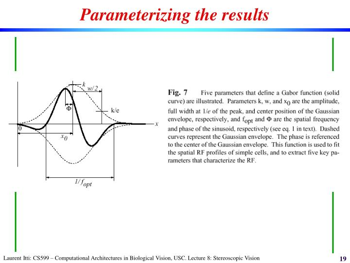 Parameterizing the results
