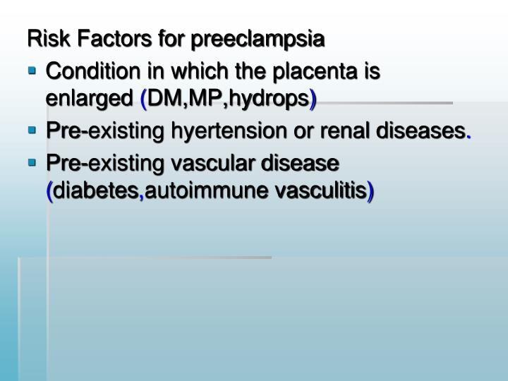 Risk Factors for preeclampsia