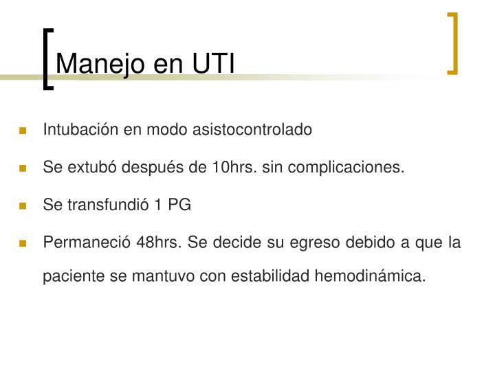 Manejo en UTI