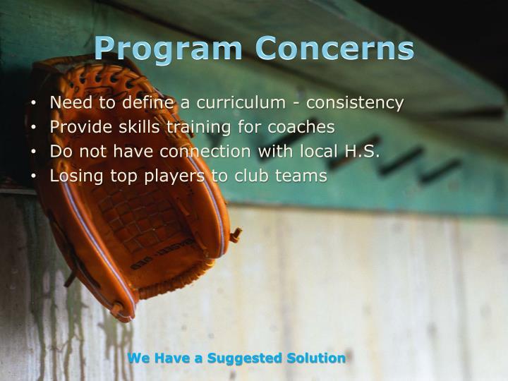 Program Concerns