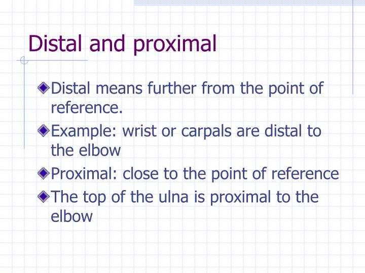 Distal and proximal