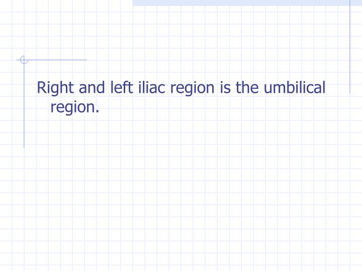 Right and left iliac region is the umbilical region.