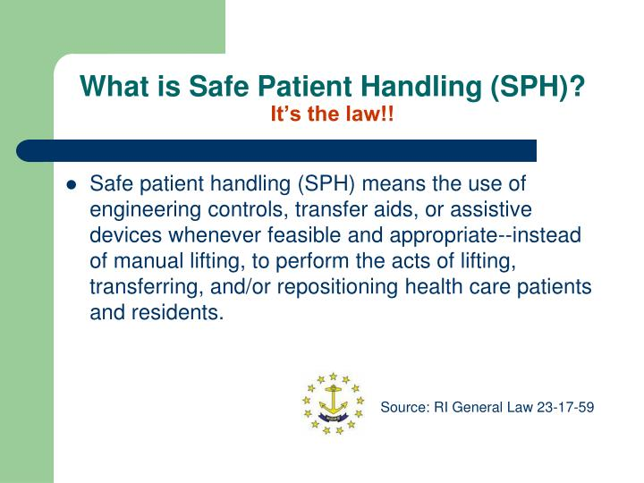 What is safe patient handling sph it s the law