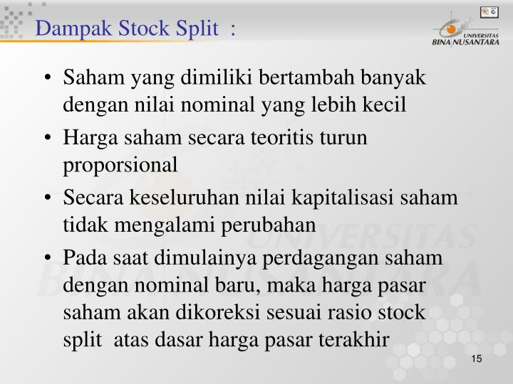 Dampak Stock Split  :