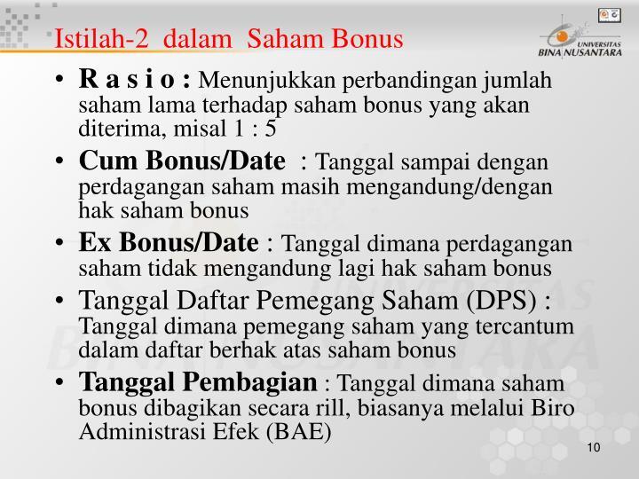 Istilah-2  dalam  Saham Bonus
