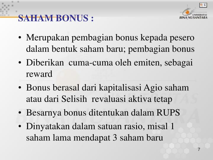 SAHAM BONUS :