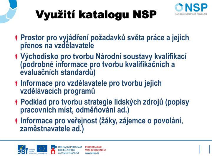 Využití katalogu NSP