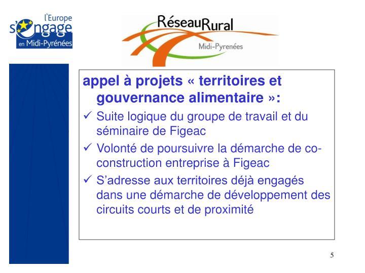 appel à projets «territoires et gouvernance alimentaire»: