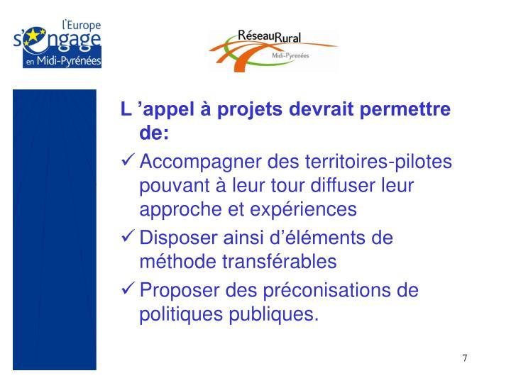 L 'appel à projets devrait permettre de: