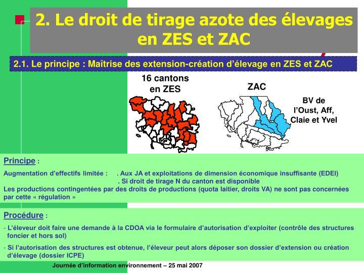 2. Le droit de tirage azote des élevages en ZES et ZAC