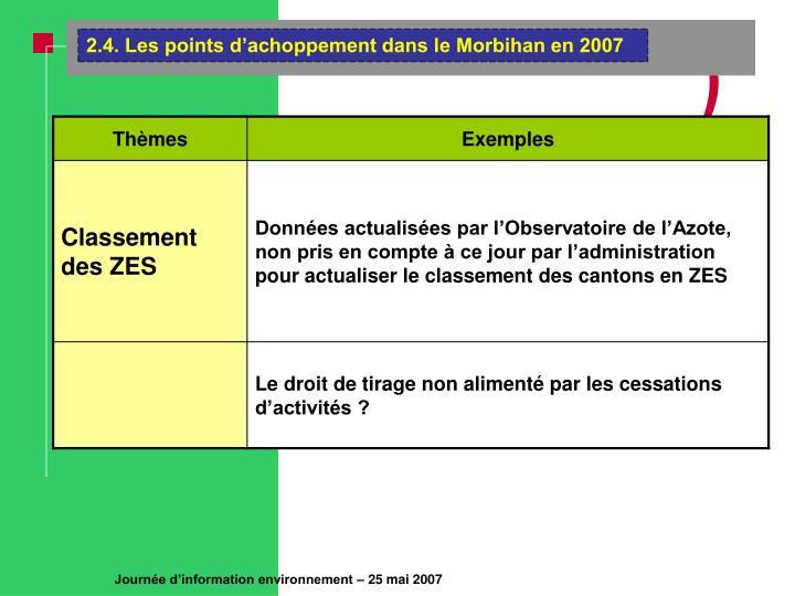 2.4. Les points d'achoppement dans le Morbihan en 2007