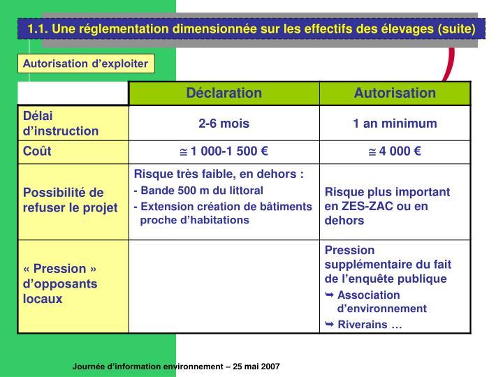 1.1. Une réglementation dimensionnée sur les effectifs des élevages (suite)