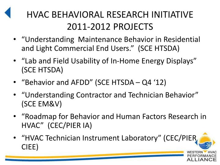 HVAC BEHAVIORAL RESEARCH INITIATIVE