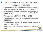 hvac behavioral research initiative 2011 2012 projects