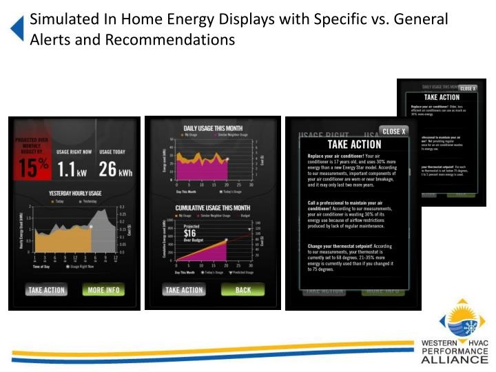 Simulated In Home Energy Displays with Specific vs. General Alerts and Recommendations
