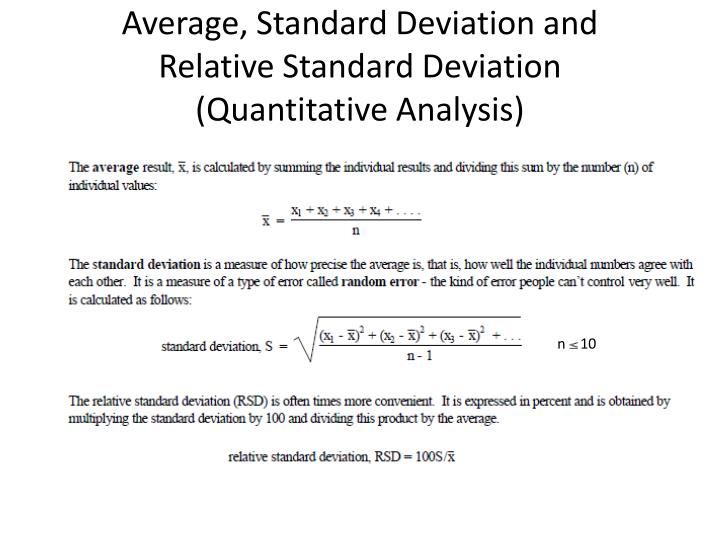 Average, Standard Deviation and