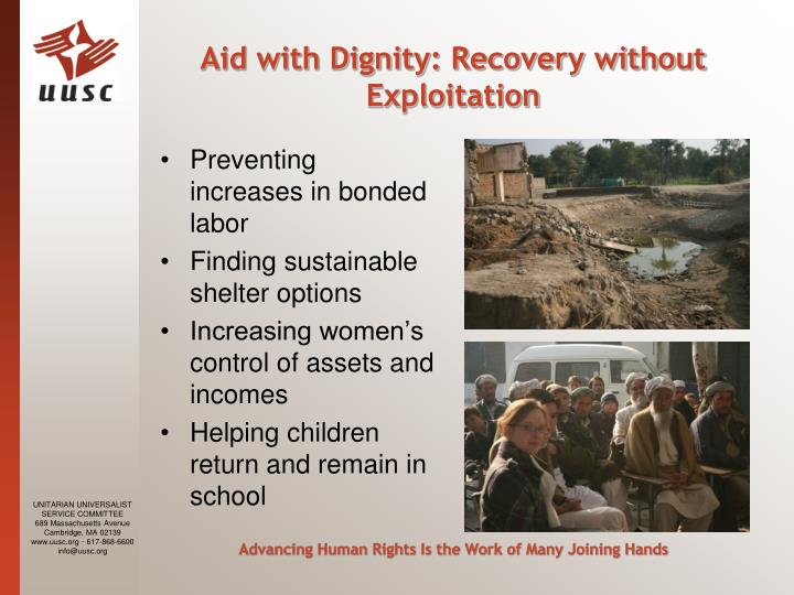 Aid with Dignity: Recovery without Exploitation