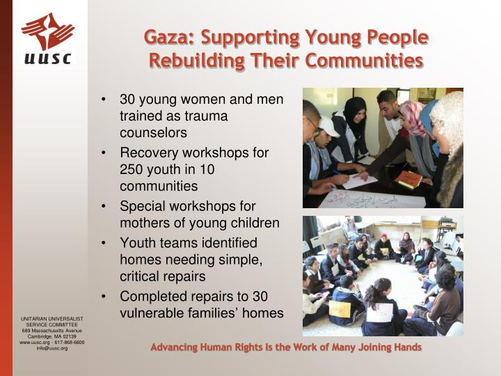 Gaza: Supporting Young People Rebuilding Their Communities