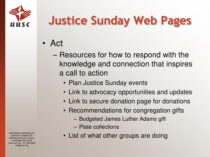 Justice Sunday Web Pages