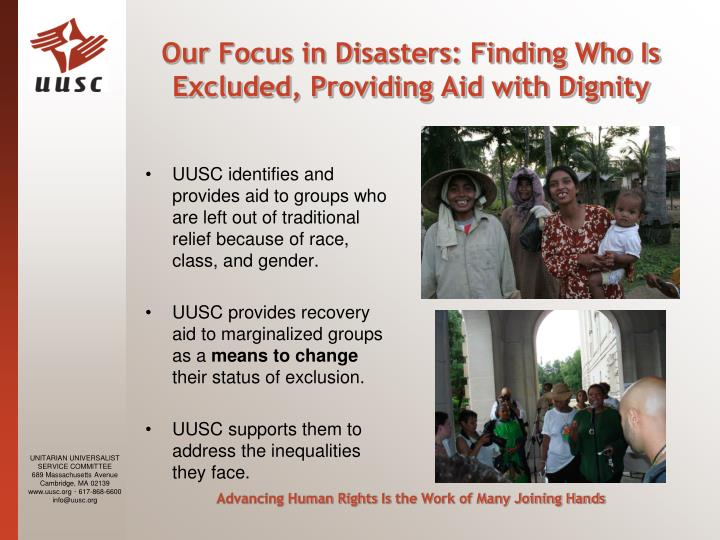 Our Focus in Disasters: Finding Who Is Excluded, Providing Aid with Dignity