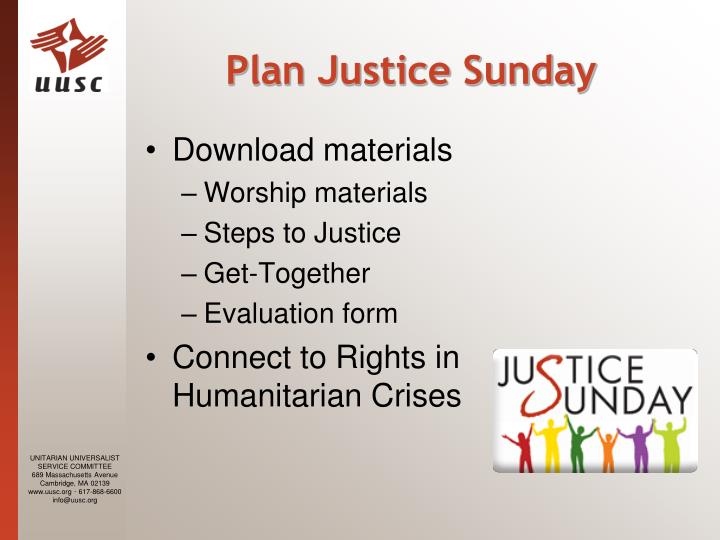 Plan Justice Sunday