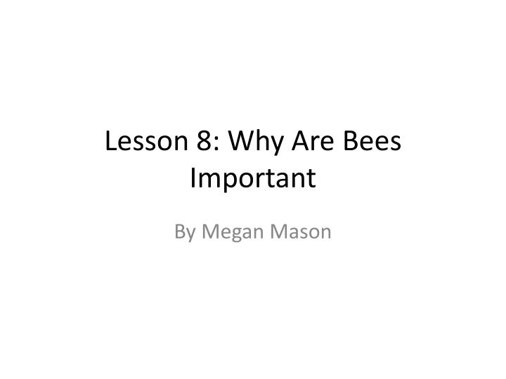 Lesson 8 why are bees important