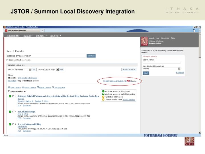 JSTOR / Summon Local Discovery Integration