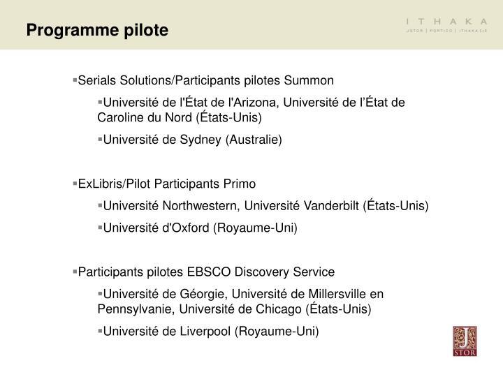 Programme pilote