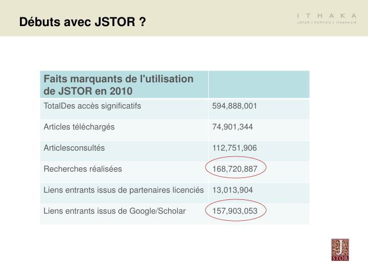Débuts avec JSTOR ?