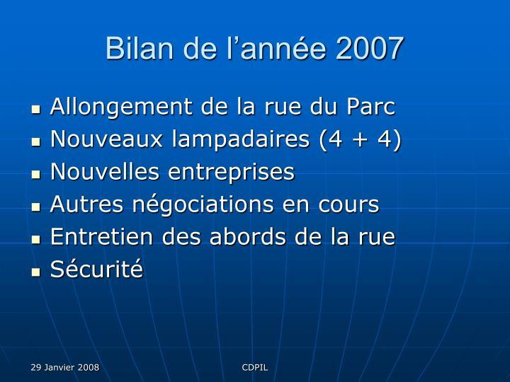 Bilan de l'année 2007