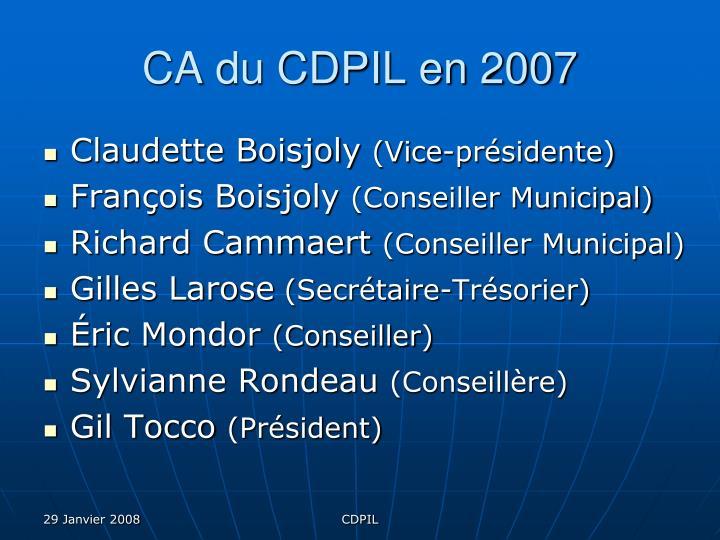 CA du CDPIL en 2007