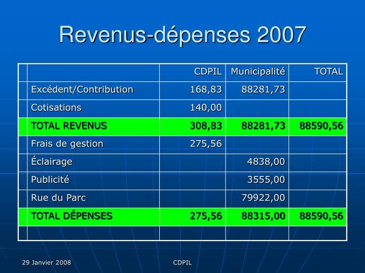 Revenus-dépenses 2007
