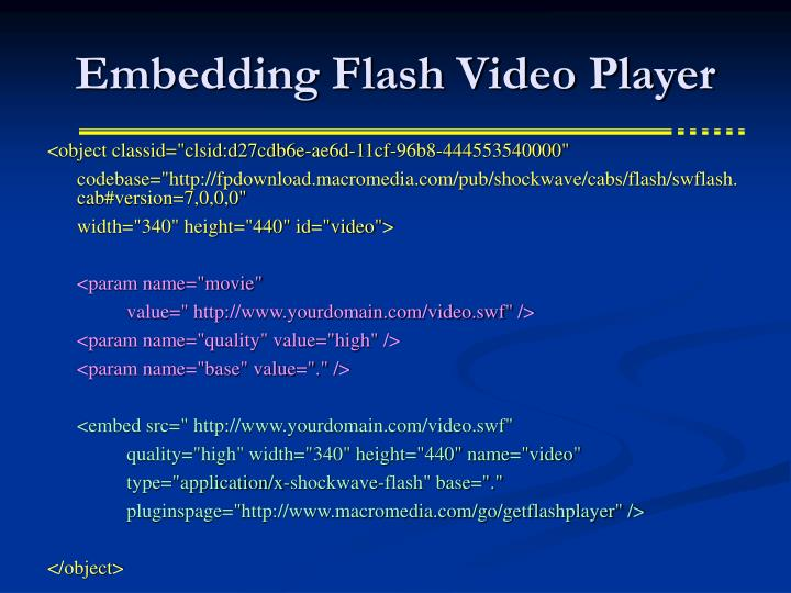 Embedding Flash Video Player