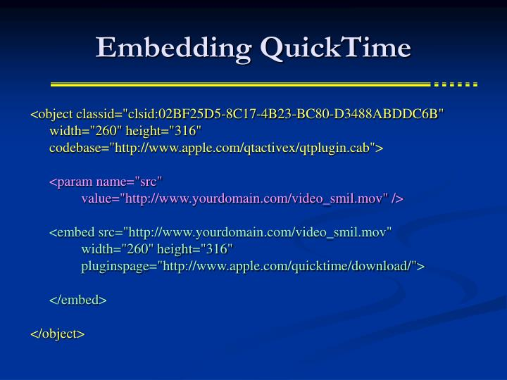 Embedding QuickTime