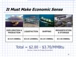 it must make economic sense