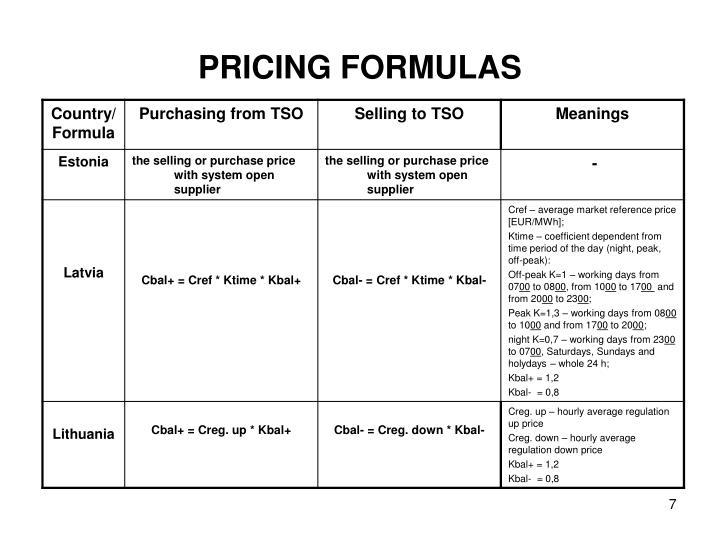 PRICING FORMULAS