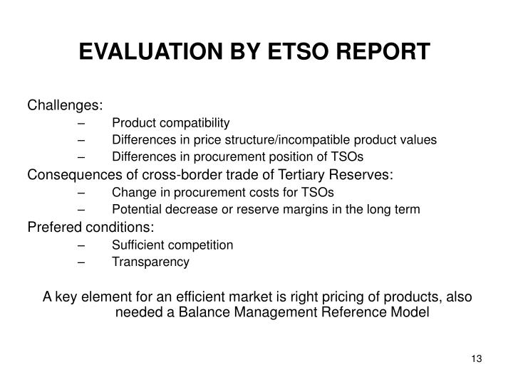 EVALUATION BY ETSO REPORT