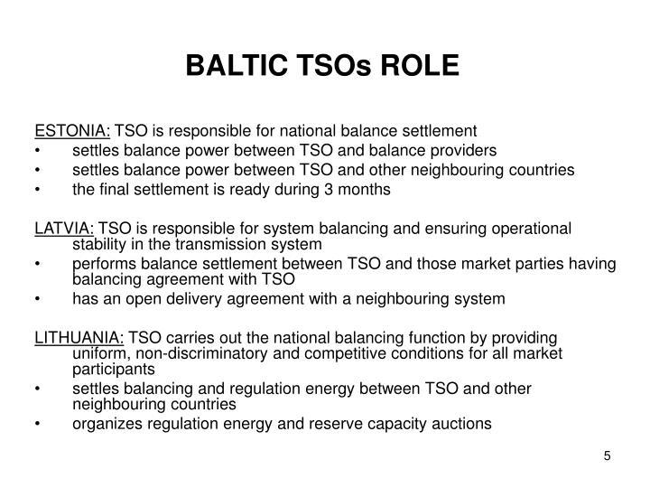 BALTIC TSOs ROLE
