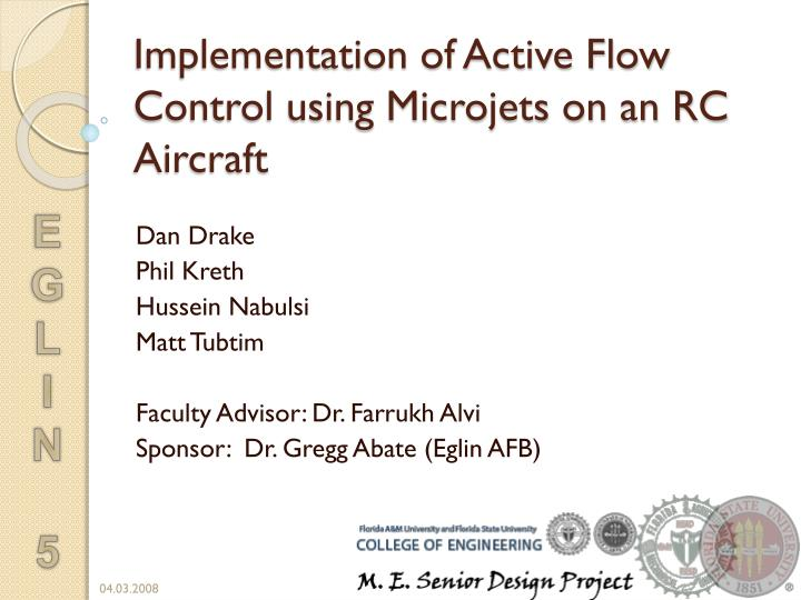 Implementation of active flow control using microjets on an rc aircraft