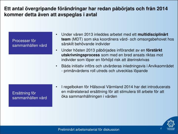 Ett antal övergripande förändringar har redan påbörjats och från 2014 kommer detta även att avspeglas i avtal