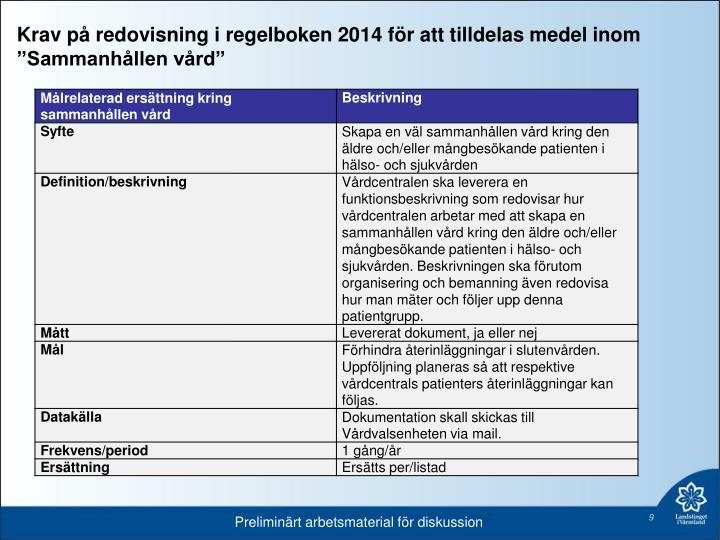 """Krav på redovisning i regelboken 2014 för att tilldelas medel inom """"Sammanhållen vård"""""""