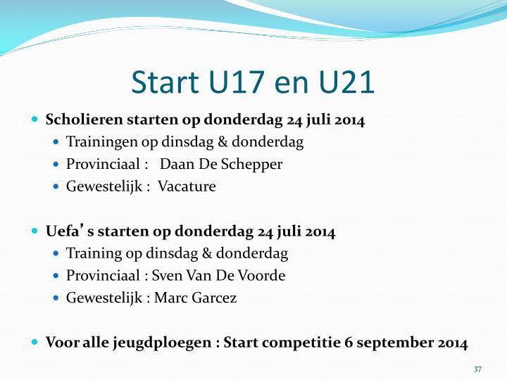 Start U17 en U21