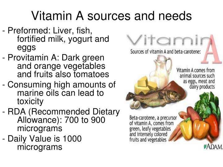 Vitamin A sources and needs