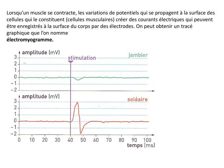 Lorsqu'un muscle se contracte, les variations de potentiels qui se propagent à la surface des cellules qui le constituent (cellules musculaires) créer des courants électriques qui peuvent être enregistrés à la surface du corps par des électrodes. On peut obtenir un tracé graphique que l'on nomme