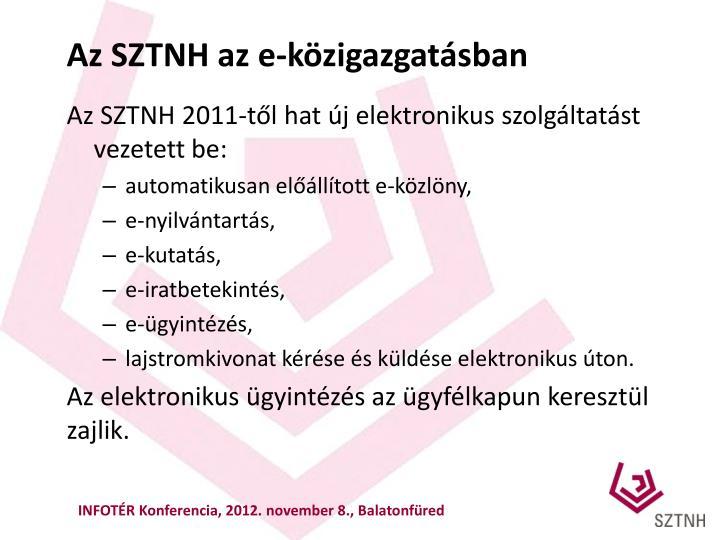 Az SZTNH az e-közigazgatásban