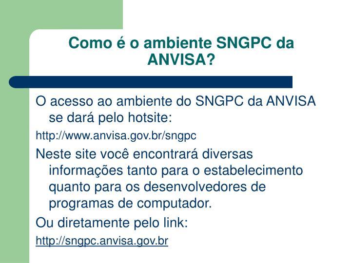 Como é o ambiente SNGPC da ANVISA?